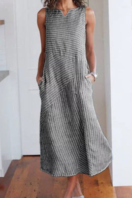 V Neck  Patch Pocket  Striped Maxi Dress