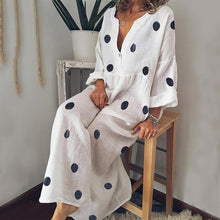 Load image into Gallery viewer, Casual V Neck Long Sleeve Pleated Polka Dot Splicing Dress