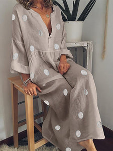 Casual V Neck Long Sleeve Pleated Polka Dot Splicing Dress