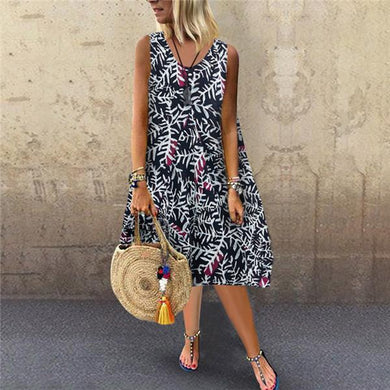 Fashion Sleeveless Printing Casual Dresses