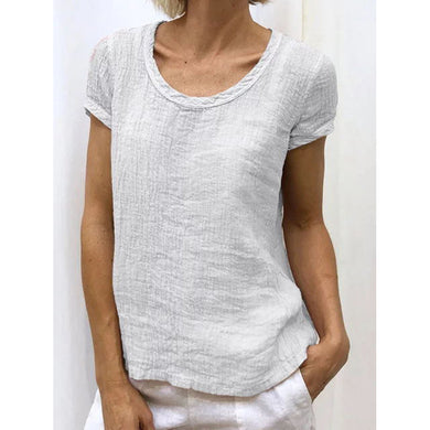 Fashion Short Sleeve Round Collar Solid Color T-Shirt