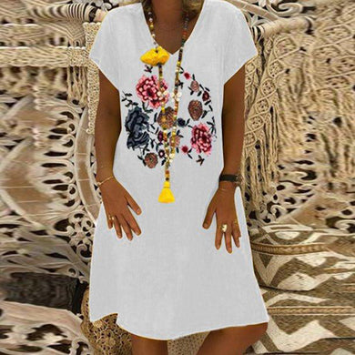 Fashion Print Short Sleeve V-Neck Dress