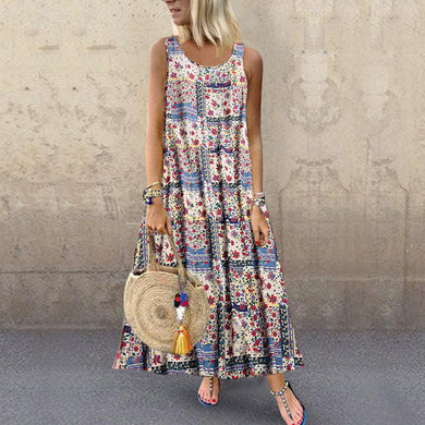 Bohemian Style Digital Print Long Sleeveless Dress