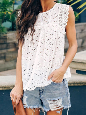 Round Neck Sleeveless Ruffles Hollow Out Blouses