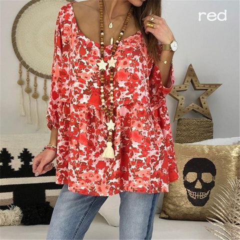 Fashionable Printed Round Collar Loose Short Sleeves T-Shirt