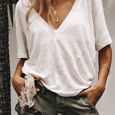 Pure Color Loose Short Sleeves Casual Comfortable V-Neck T-Shirt