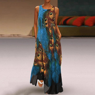 Elegant Chiffon Round Neck Sleeveless Peafowls Printed Colour Dress