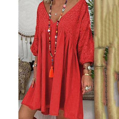 Bohemian Pure Lace V-Neck Dress
