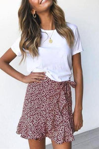 Sweet Printed Lace-Up Short Skirt