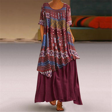 Fashion Stitching Printing Short Sleeves Casual Dresses