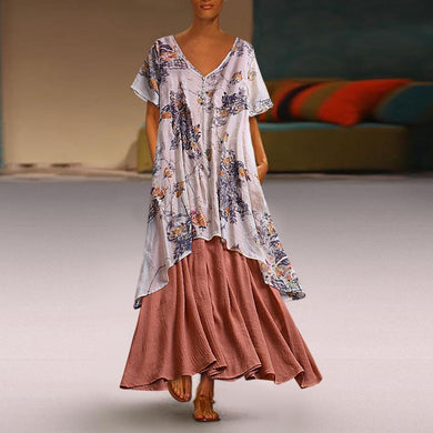Summer Patchwork Print Plus Size Vintage Maxi Dress With Pockets