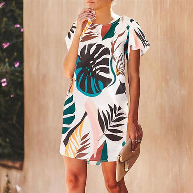 Summer Leaf Print Casual Fashion Round Neck Short Sleeve Dress