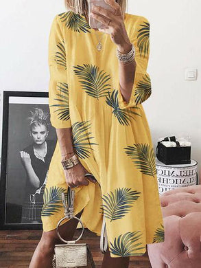 Women's Loose Casual Leaf Print Crew Neck Dress