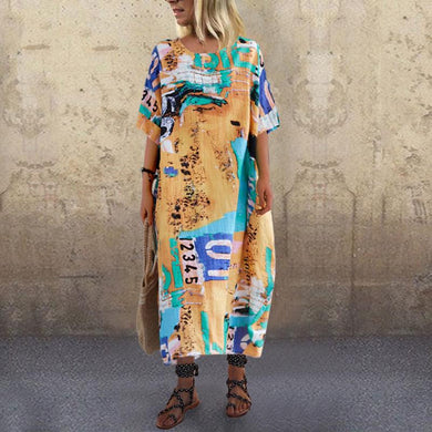 Casual Round Neck Printed Colour Loose Dress