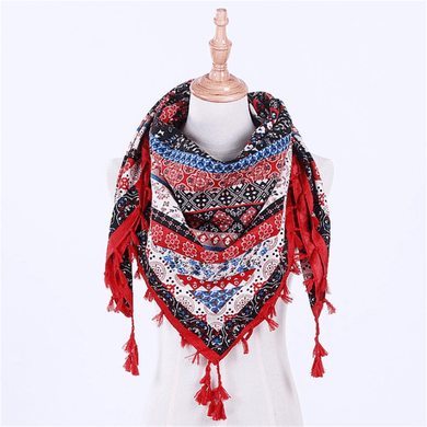 Bohemian   ethnic printed cotton scarf