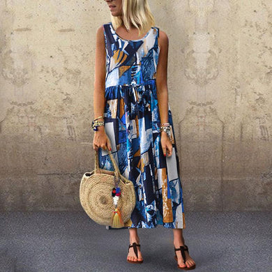 Vintage Round Neck Sleeveless Belted Pleated Printed Colour Dress