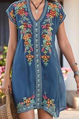 Holiday Ethnic Style Embroidered Dress