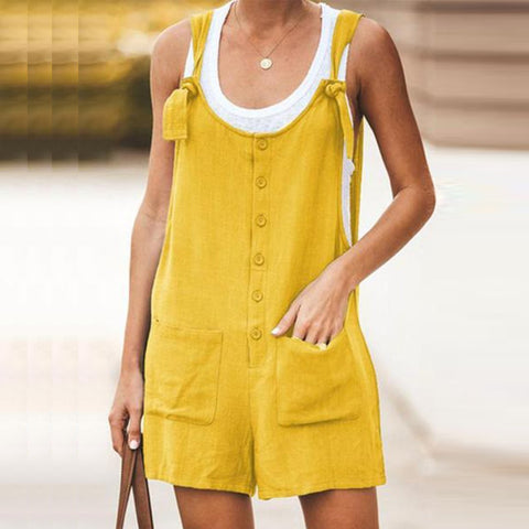 Spaghetti Strap  Decorative Buttons  Plain  Sleeveless  Playsuits