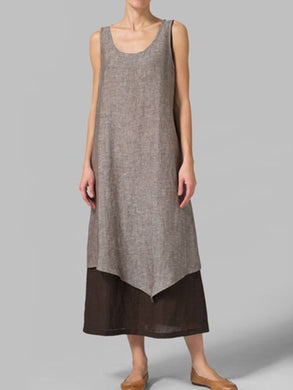 Summer casual round neck cotton and linen sleeveless dress