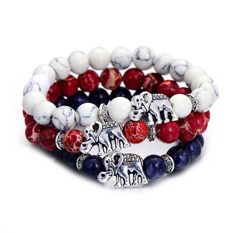 Elephant Bracelet - Red, White & Blue Natural Stone