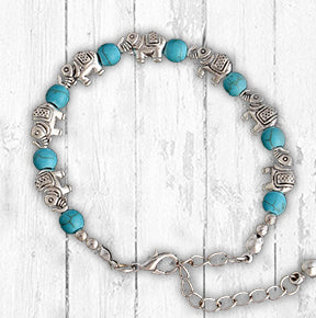 Turquoise and Silver Elephant Bracelet
