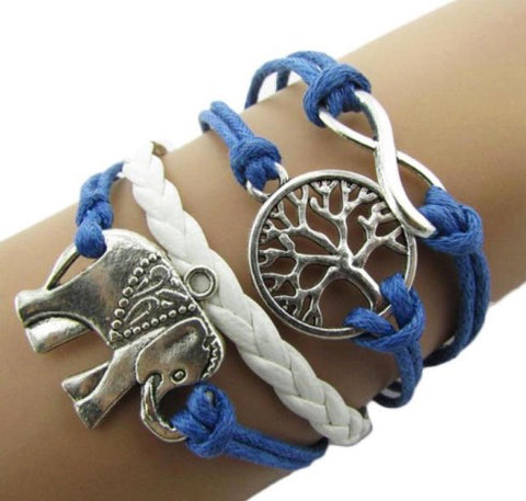 "Rope & Leather Bracelet ""Infinity/Tree of Life"" Blue"