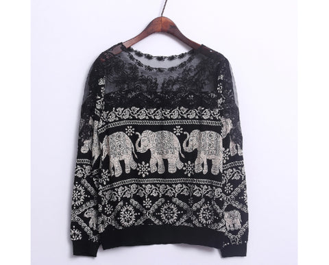Elephant Blouse - Black Lace