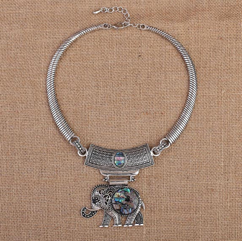 "Elephant Necklace: Tribal Silver-Plated Shell Elephant Choker Collar (27"")"