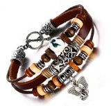 BRACELET - Elephant: Vintage-Style Leather with Wood Beads