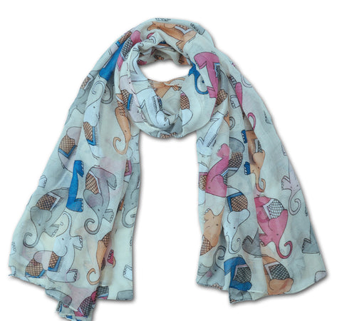 "SCARF: Whimsical Elephants - Mint (70"" x 35"")"