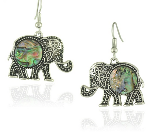 EARRINGS - Elephant: Tribal Silver-Plated Shell