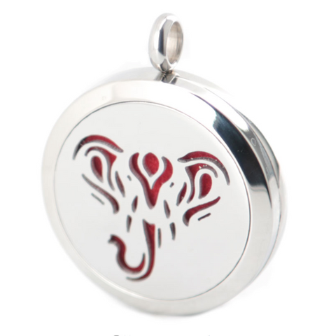 NECKLACE: Essential Oil Diffuser - Silver Elephant Cutout