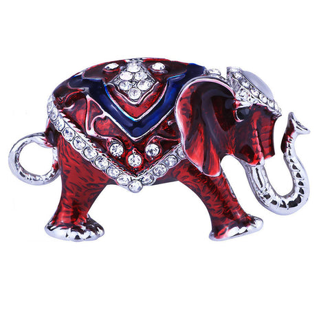 Red, White & Blue Elephant Brooch