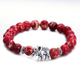 BRACELET - Elephant: Red, White & Blue Natural Stone