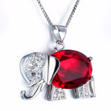 Elephant Crystal Necklace with Rhinestones