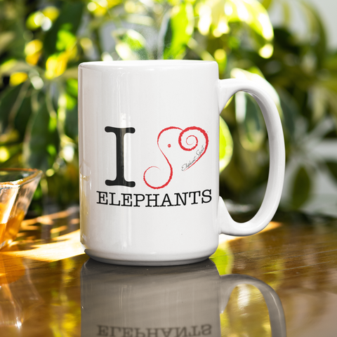 "Elephant Coffee Mug - I 'HEART"" Elephants"