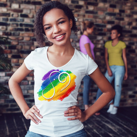 Rainbow Short Sleeve V-Neck T