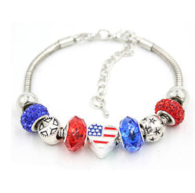 Patriotic Bracelet with Red & Blue Crystal Beads