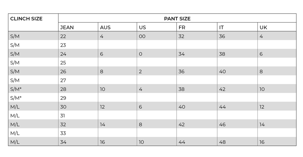 CLINCH SIZE CONVERSION CHART