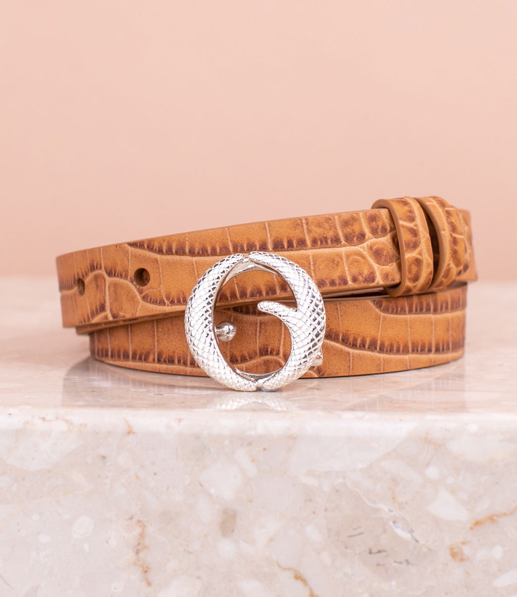 Mini Sterling Silver & Light Tan Croc Belt II