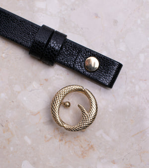 Mini Brass & Black Stingray Belt II