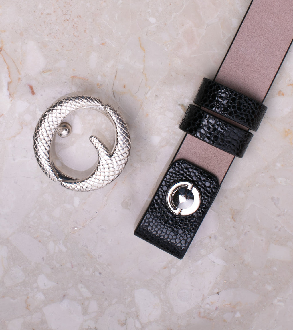 Mini Sterling Silver & Black Stingray Belt II