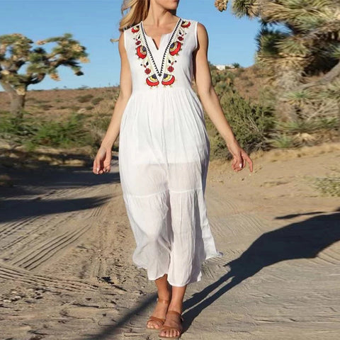 Casual Summer White Sleeveless Embroidered Dress Loose Holiday Midi Dress