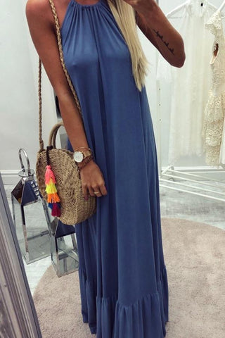 Fashion Halter Vacation Dress