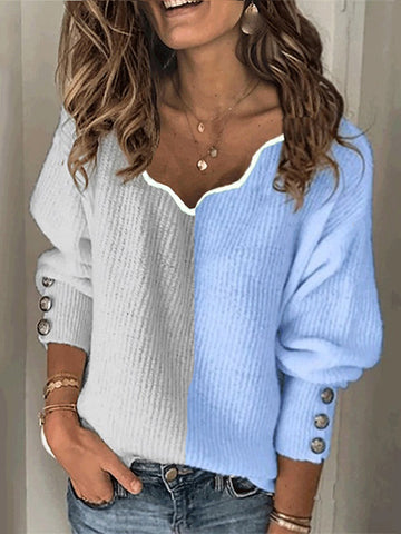 Fashion v neck colouring loose lantern sleeves sweater