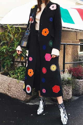 Casual Floral Printed Long Sleeve Overcoat