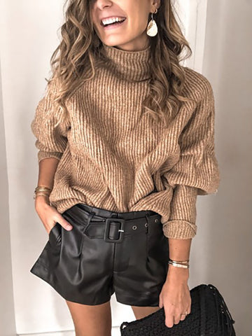 Ladies Fashion Pure Turtleneck Knit Sweater