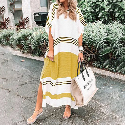Casual V Neckline Striped Loose Maxi Dress With Sleeves