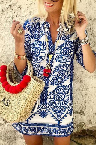 Fashion Printed Colour Loose Inwrought Beach Dresses