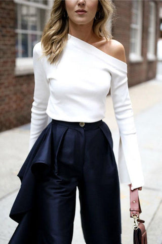 Pure White T-Shirt Horn Sleeve Slant Shoulder Top